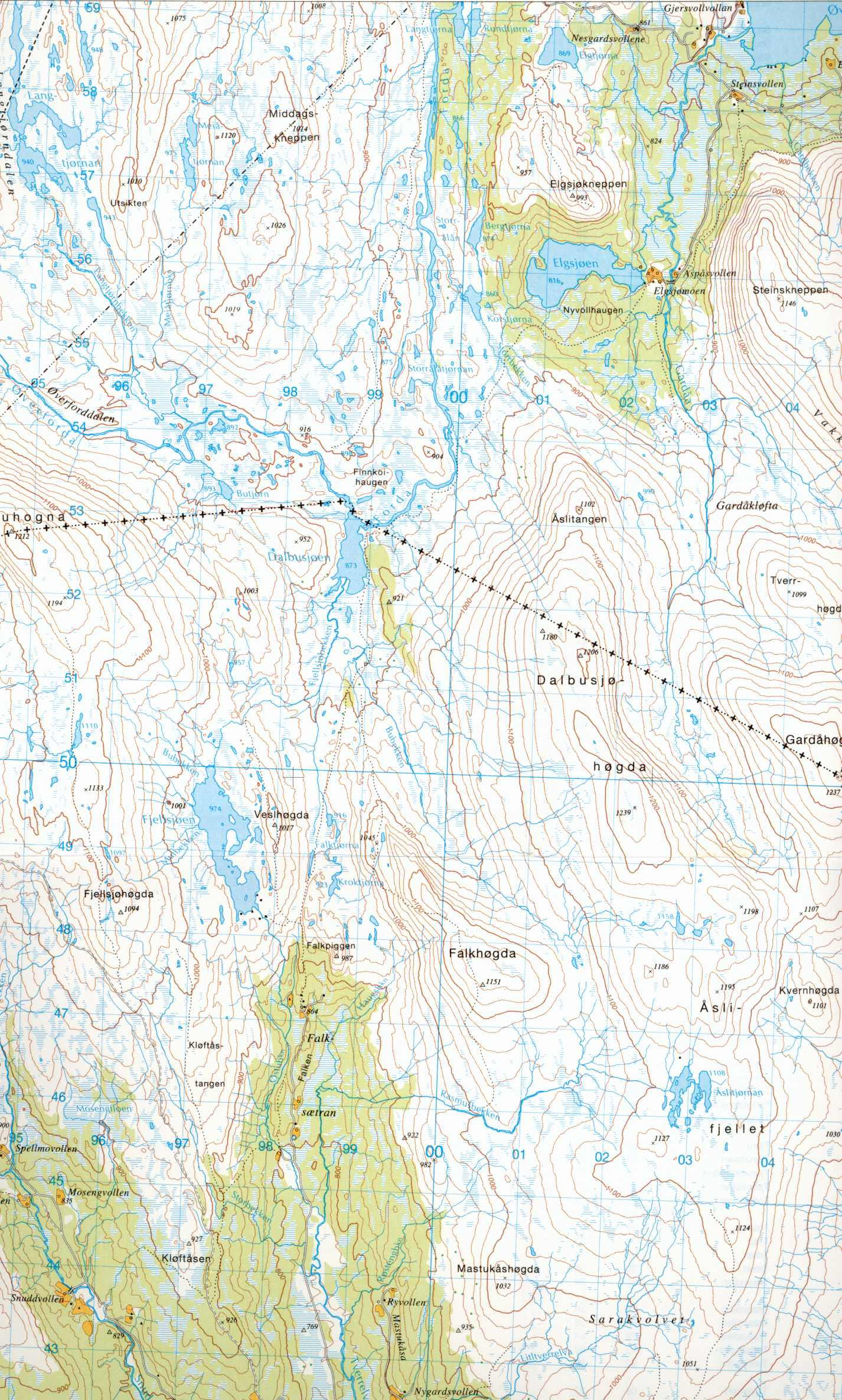 Map of the south-western part of Hessdalen